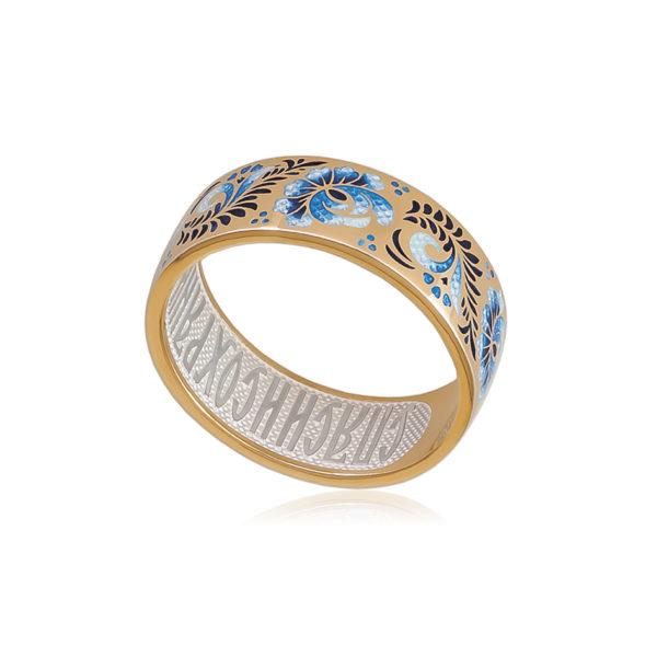 6 63 2z 1 600x600 - Кольцо из серебра «Пион» (золочение), гжель