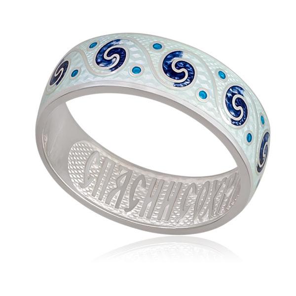 Кольцо «Меандр», белая