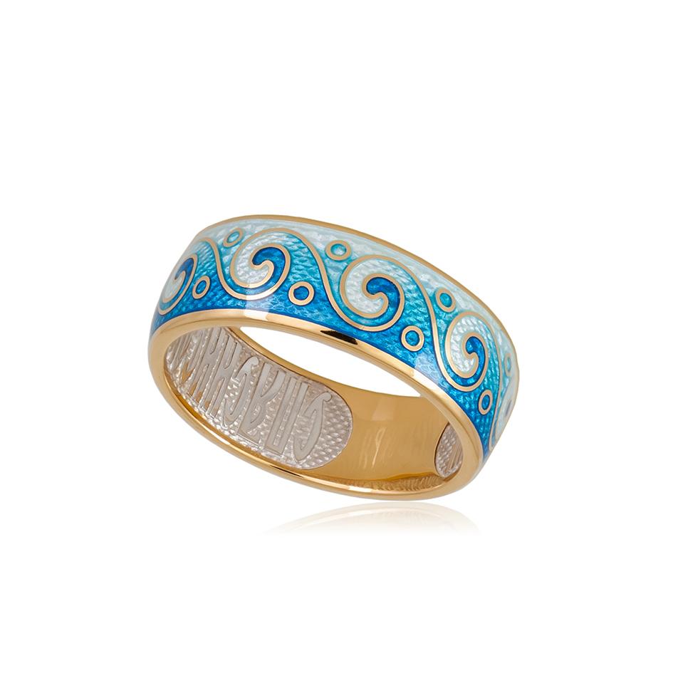6 65 1z 2 - Кольцо из серебра «Меандр» (золочение), синее