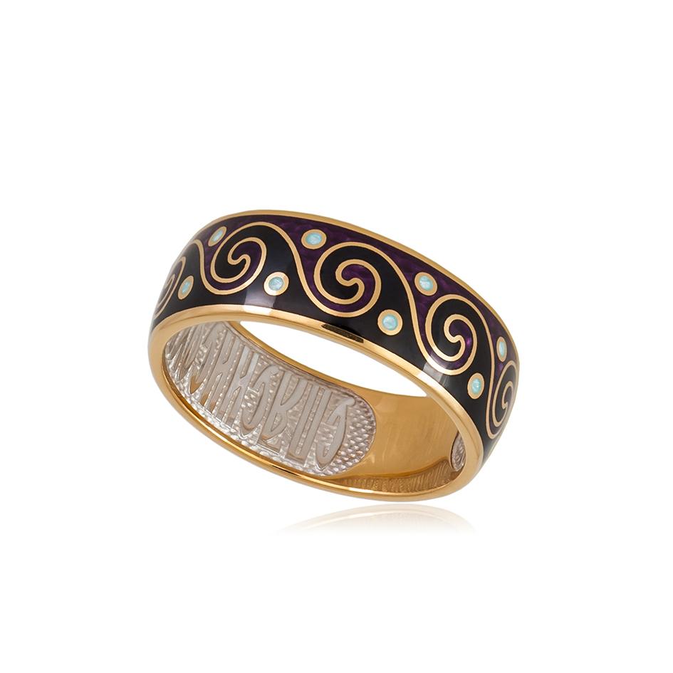 6 65 2z 1 - Кольцо из серебра «Меандр» (золочение), фиолетово-черное
