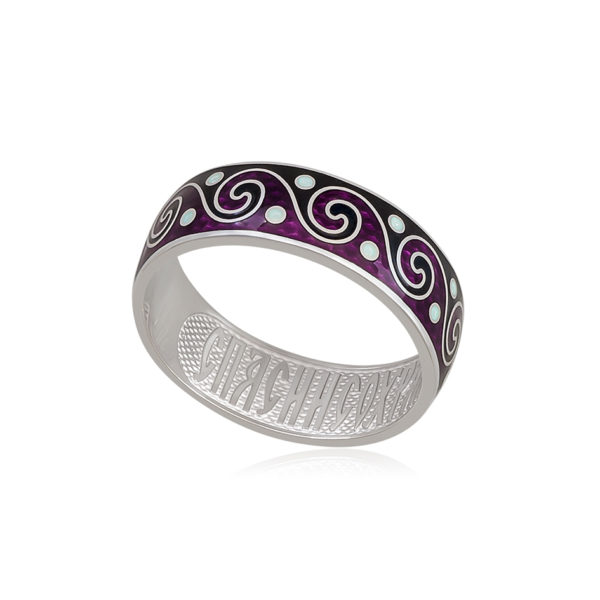 6 65 4s 1 600x600 - Кольцо из серебра «Меандр», фиолетово-черное