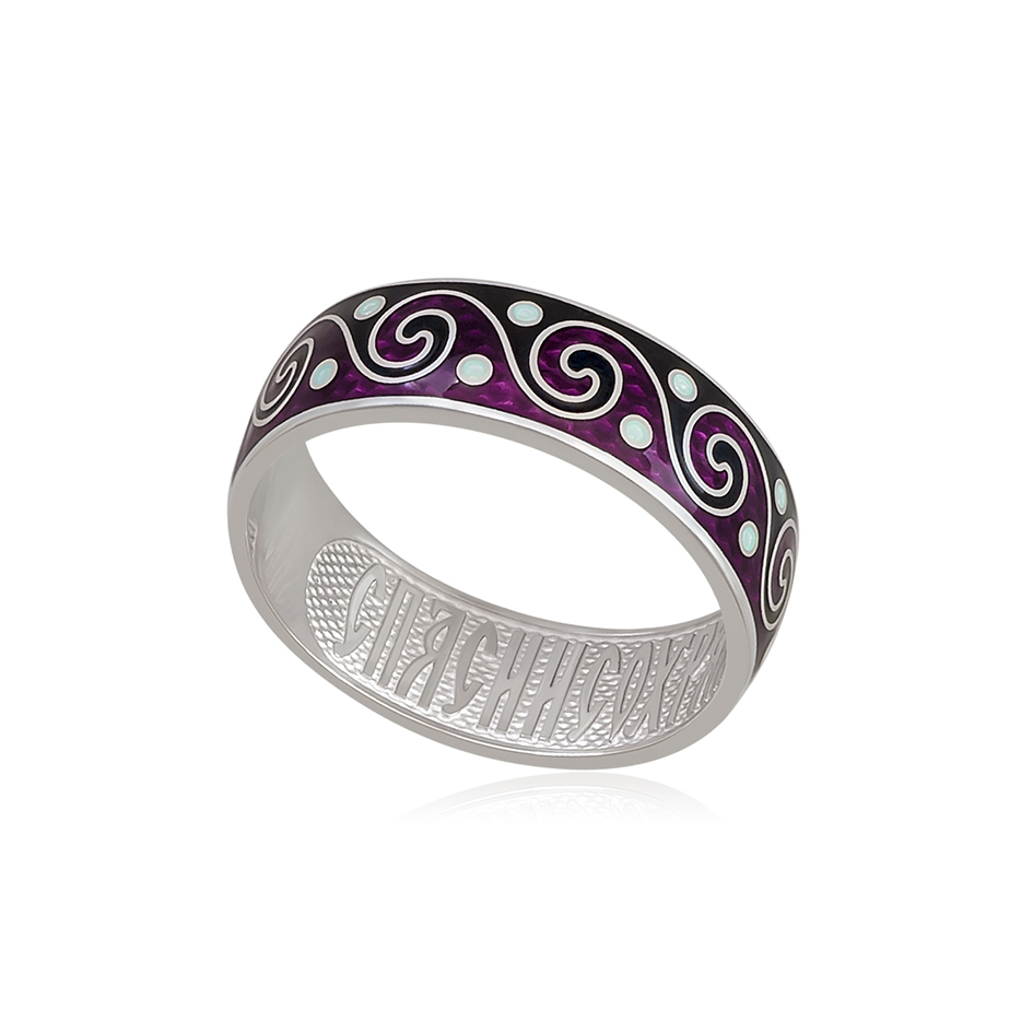 6 65 4s 1 - Кольцо «Меандр», фиолетово-черное