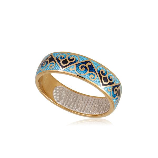 6 67 2z 1 600x600 - Кольцо из серебра «Державное» (золочение), синее