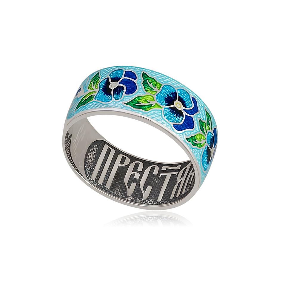 6 69 2s 1 1 - Кольцо из серебра «Анютины глазки», голубое
