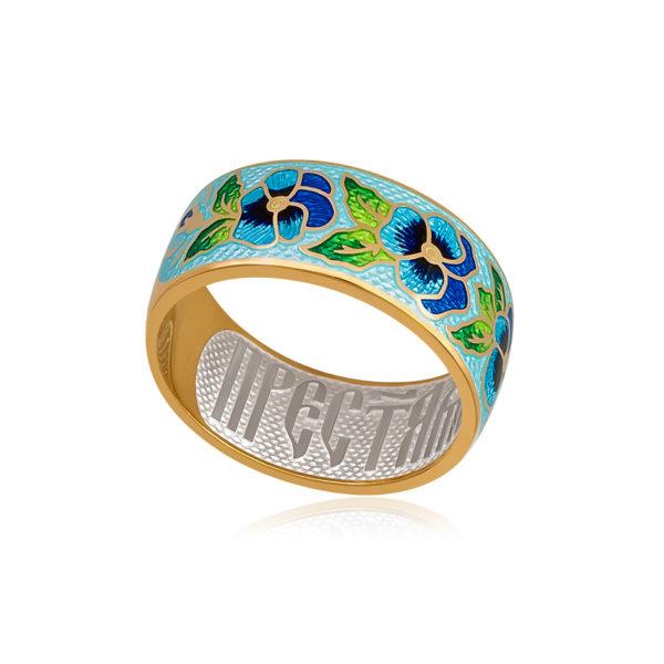 6 69 2z 1 1 600x600 - Кольцо из серебра «Анютины глазки» (золочение), голубое