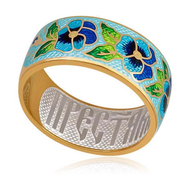 Кольцо «Анютины глазки» (золочение), голубая