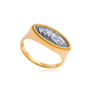 6 83 1 1 300x300 - Кольцо из серебра «Отражение» (золочение), змейка