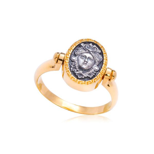 6 87 1 1 600x600 - Кольцо из серебра «Барбарис» (золочение), бело-фиолетовое
