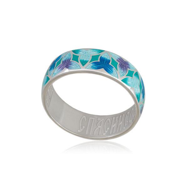 6 91 2s 1 600x600 - Кольцо из серебра «Трилистник» (золочение), синее