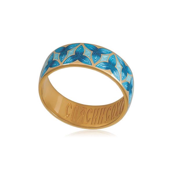6 91 2z 2 600x600 - Кольцо из серебра «Трилистник» (золочение), синее
