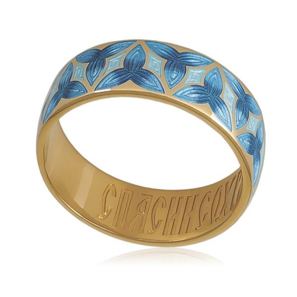 6 91 2z 600x600 - Кольцо «Трилистник» (золочение), синяя