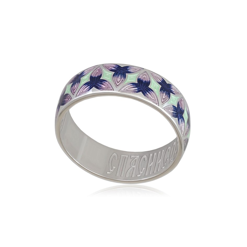6 91 3s 1 - Кольцо из серебра «Трилистник», фиолетовая