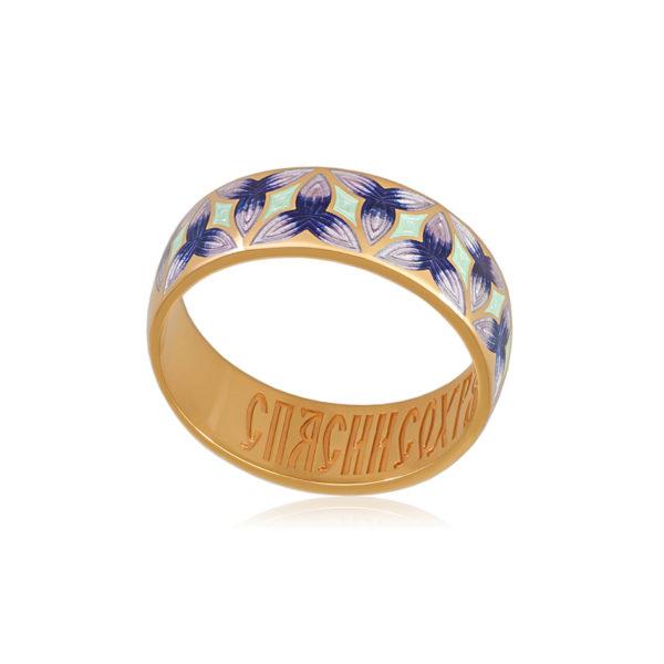 6 91 3z 1 600x600 - Кольцо из серебра «Трилистник» (золочение), фиолетовое