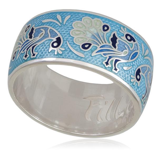 Кольцо «По зернышку», голубая
