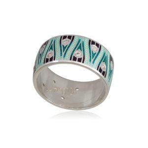 6 93 1s 1 300x300 - Кольцо из серебра «Модерн. Перо павлина», зеленая с фианитами