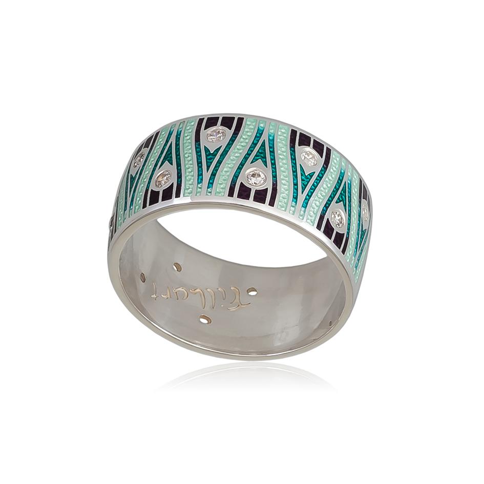 6 93 1s 1 - Кольцо из серебра «Модерн. Перо павлина», зеленая с фианитами
