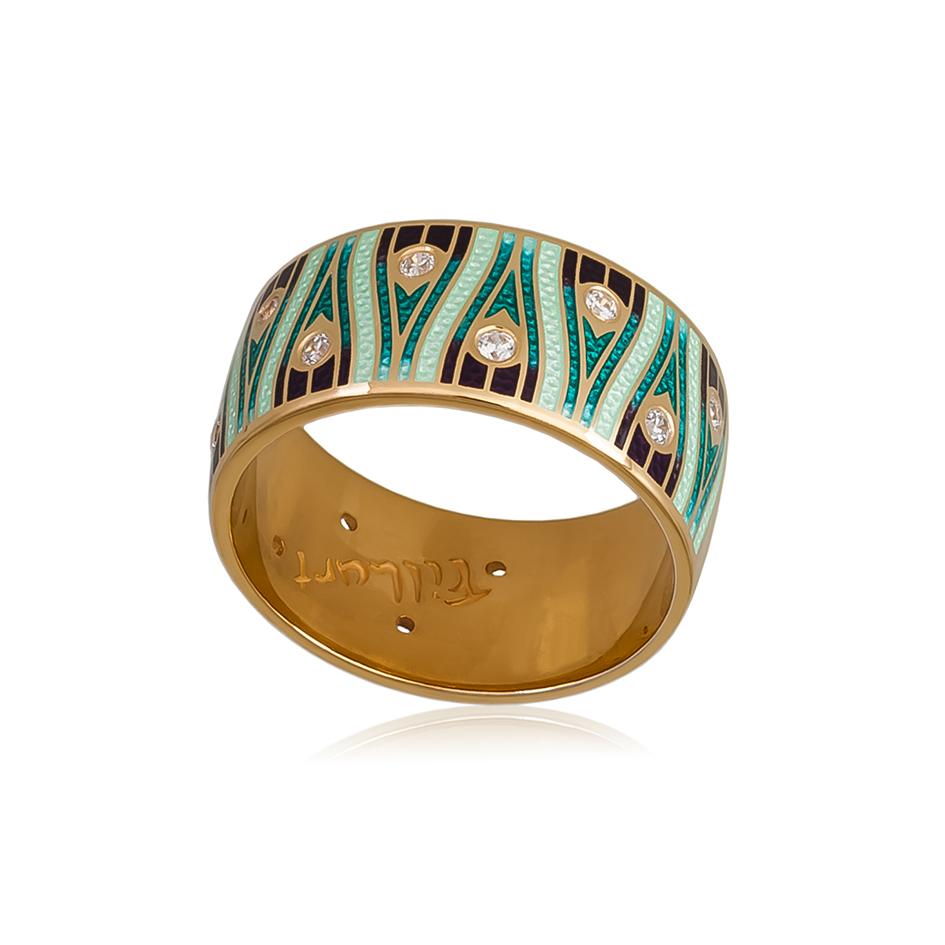 6 93 1z 1 - Кольцо «Модерн. Перо павлина» (золочение), зеленое с фианитами