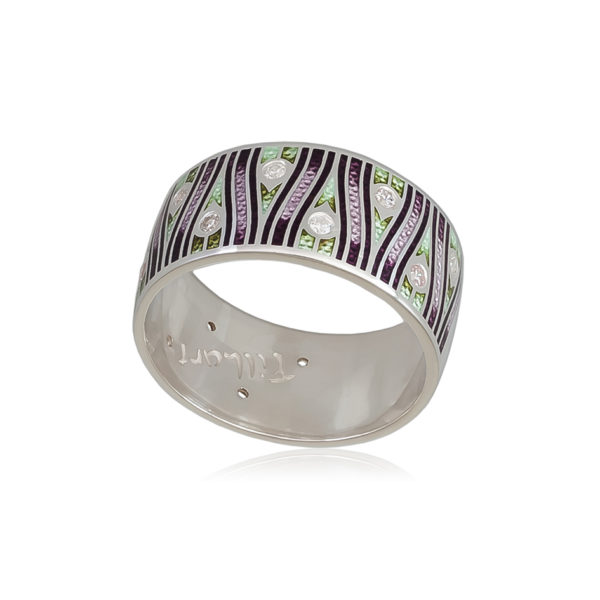 6 93 2s 1 600x600 - Кольцо «Модерн. Перо павлина», фиолетовое с фианитами