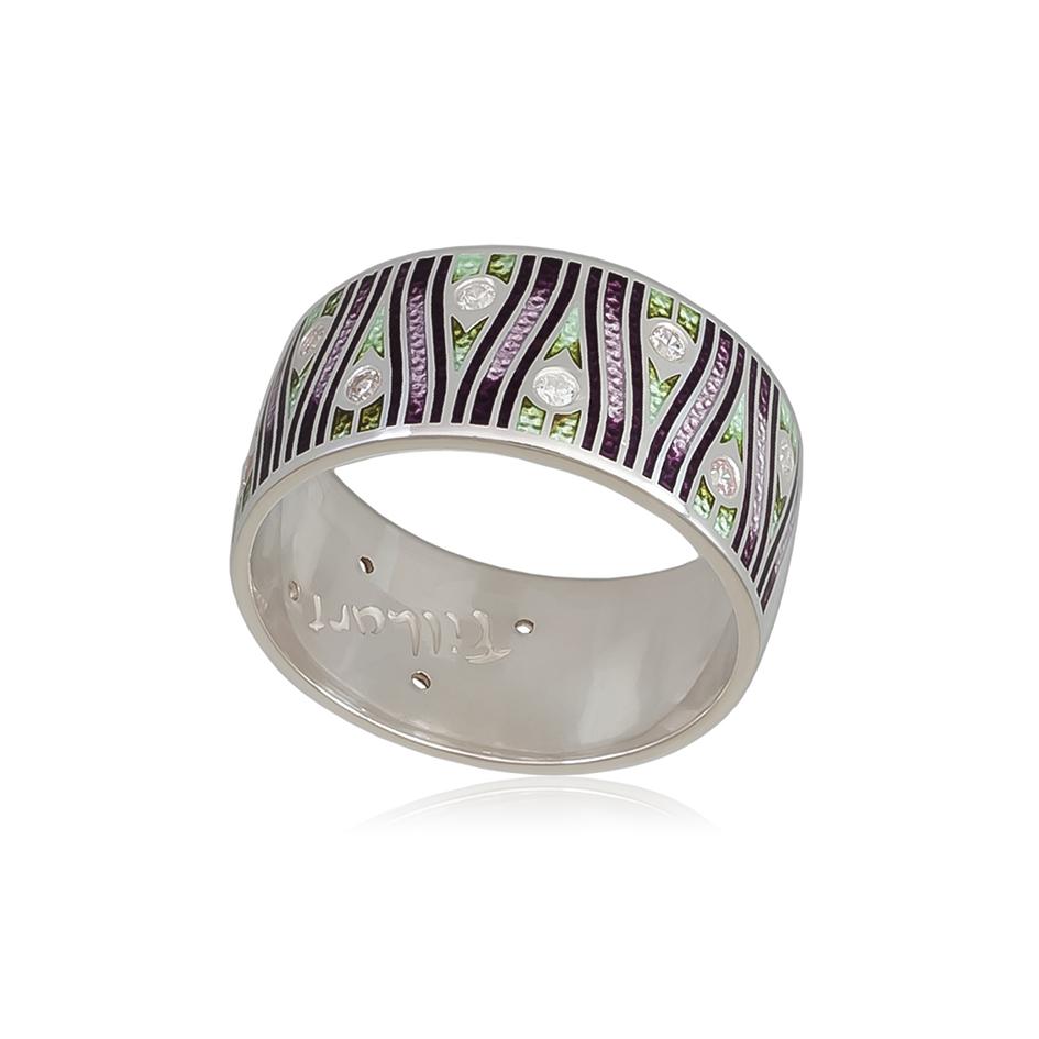 6 93 2s 1 - Кольцо из серебра «Модерн. Перо павлина», фиолетовое с фианитами