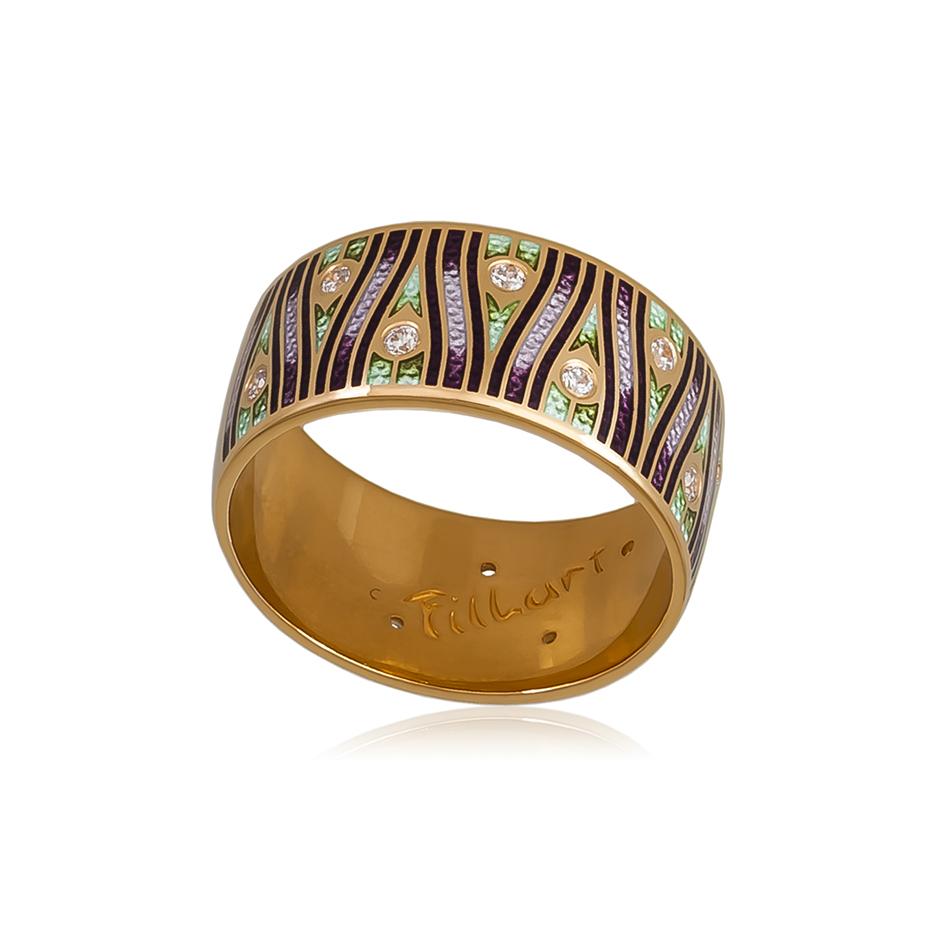 6 93 2z 1 - Кольцо «Модерн. Перо павлина» (золочение), фиолетовое с фианитами