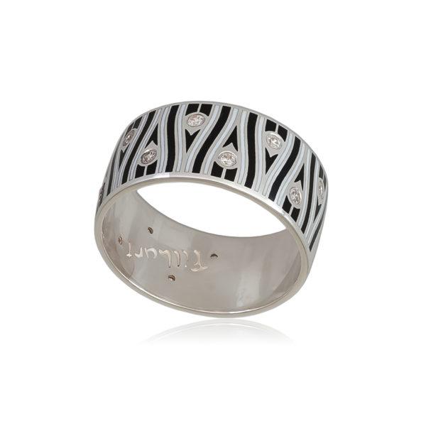6 93 3s 1 600x600 - Кольцо «Модерн. Перо павлина», черно-белое с фианитами