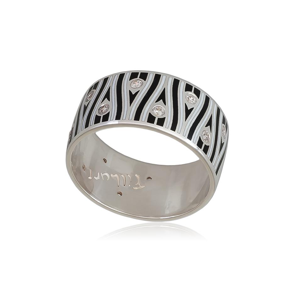 6 93 3s 1 - Кольцо из серебра «Модерн. Перо павлина», черно-белое с фианитами