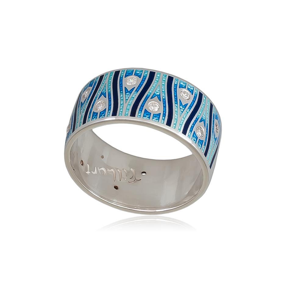 6 93 4s 2 - Кольцо из серебра «Модерн. Перо павлина», синяя с фианитами