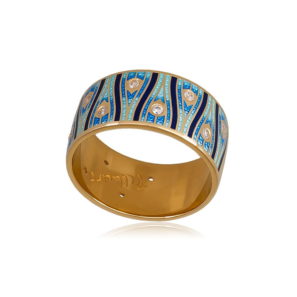 6 93 4z 1 - Кольцо «Модерн. Перо павлина» (золочение), синее с фианитами