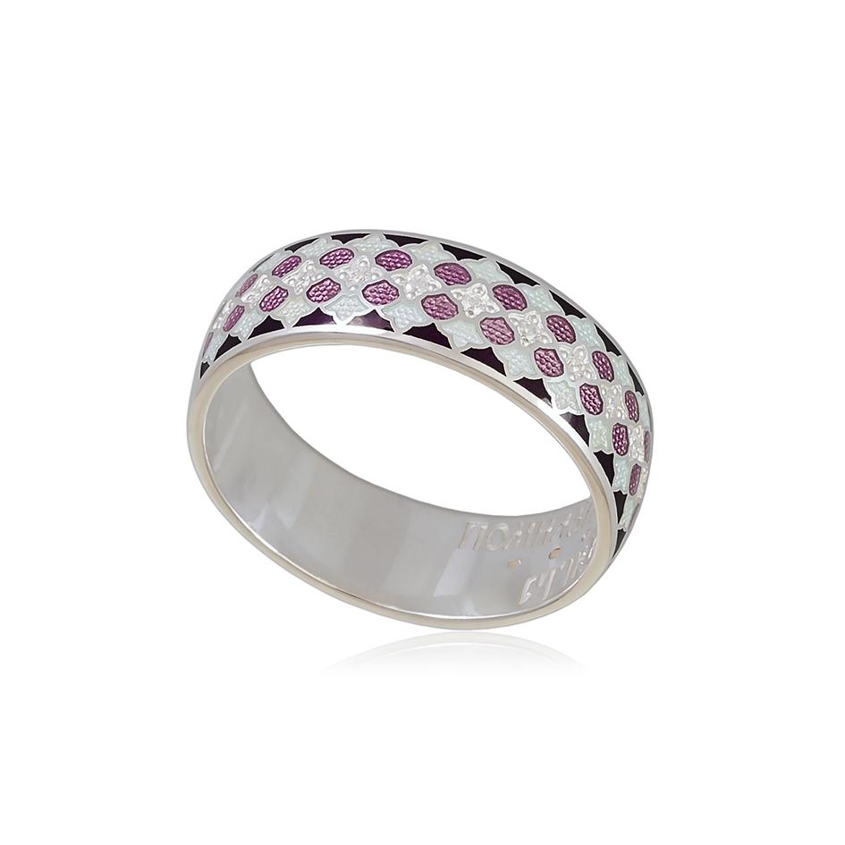6 96 1s 1 - Кольцо из серебра «Две молитвы», фиолетовое с фианитами