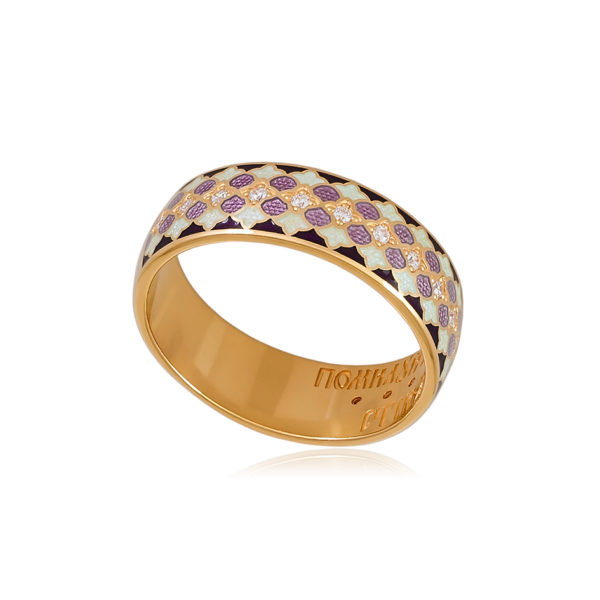 6 96 1z 1 600x600 - Кольцо из серебра «Две молитвы» (золочение), фиолетовое с фианитами