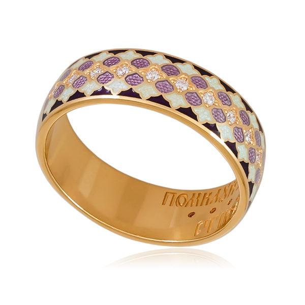 6 96 1z 600x600 - Кольцо «Две молитвы» (золочение), фиолетовое с фианитами
