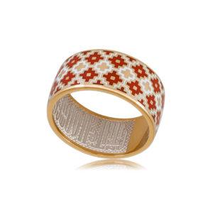 6 97 1z 1 300x300 - Кольцо из серебра «Мережка» (золочение), красное