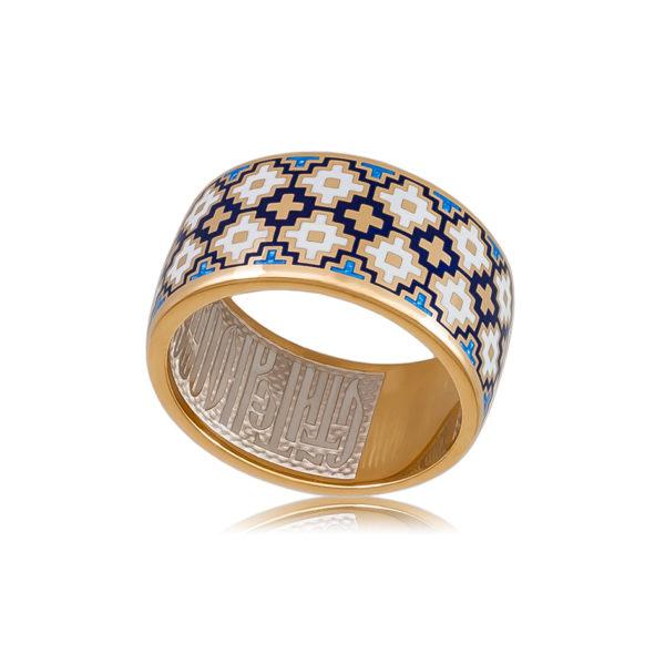 6 97 2z 1 600x600 - Кольцо из серебра «Мережка» (золочение), синее