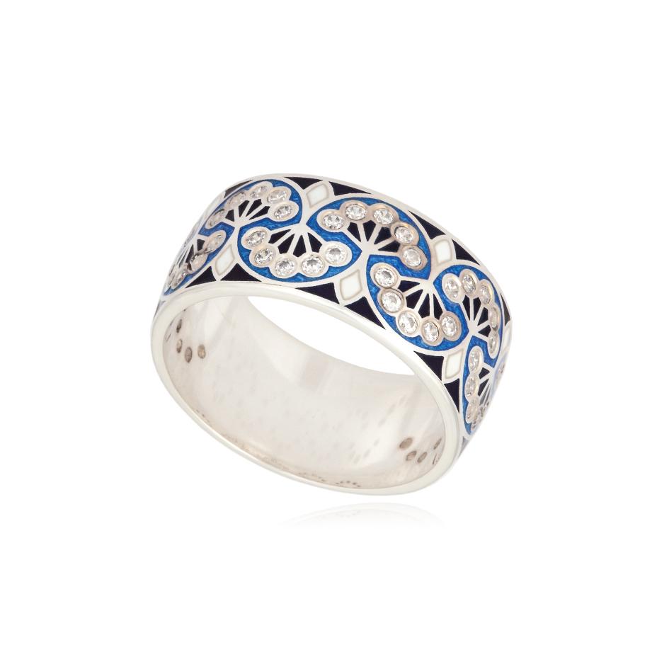 6 99 variant2 - Кольцо из серебра «Сады Семирамиды», синее с фианитами