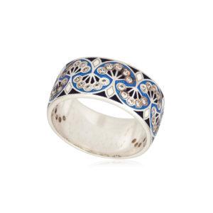 6 99 1s 1 1 300x300 - Кольцо из серебра «Сады Семирамиды», синее с фианитами
