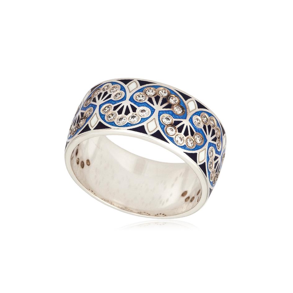 6 99 1s 1 1 - Кольцо из серебра «Сады Семирамиды», синее с фианитами
