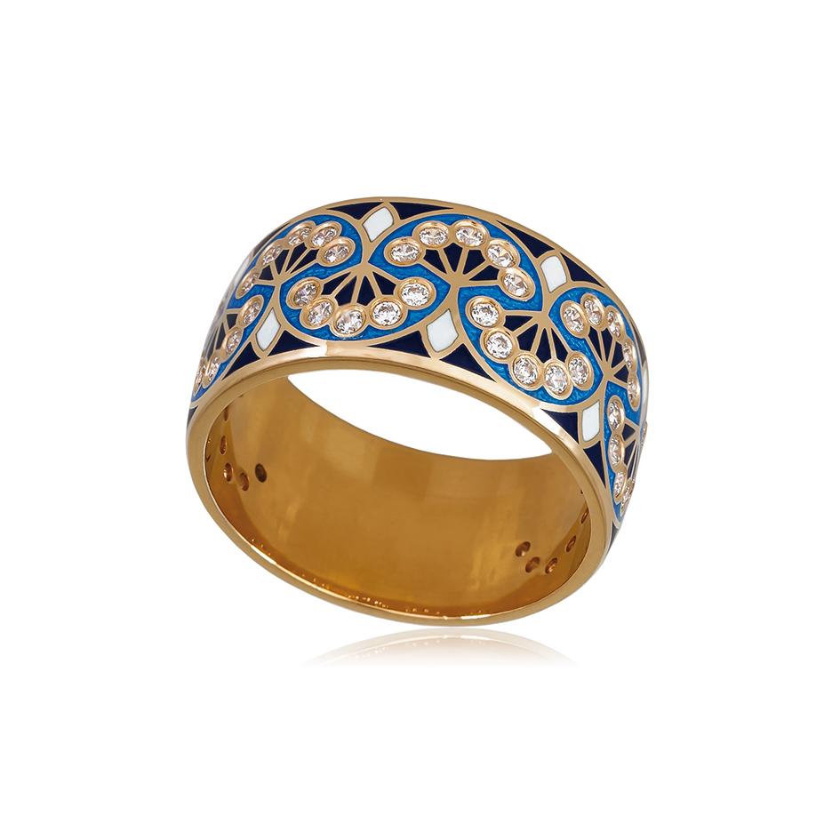 6 99 1z 1 - Кольцо из серебра «Сады Семирамиды» (золочение), синее с фианитами