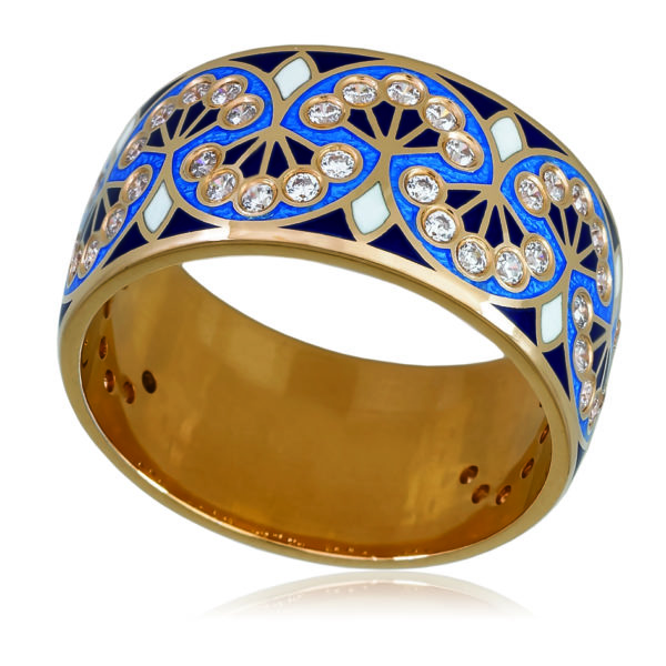Кольцо «Сады Семирамиды» (золочение), синяя