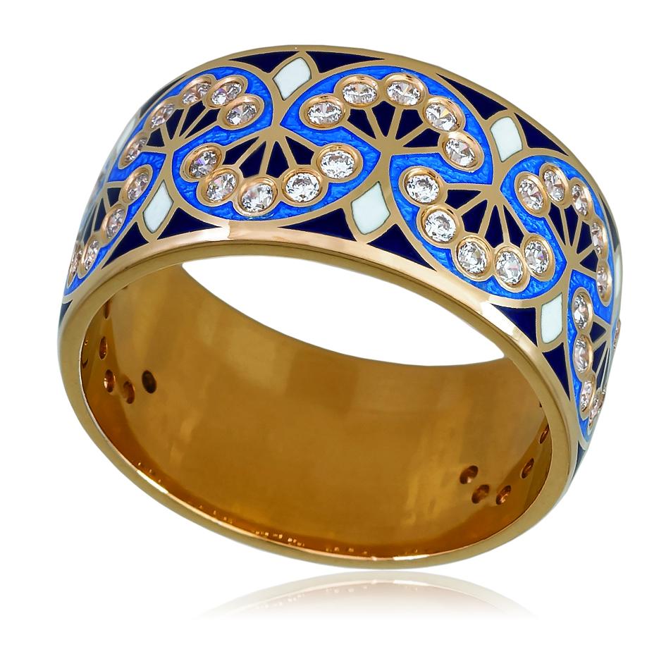 6 99 1z - Кольцо «Сады Семирамиды» (золочение), синяя