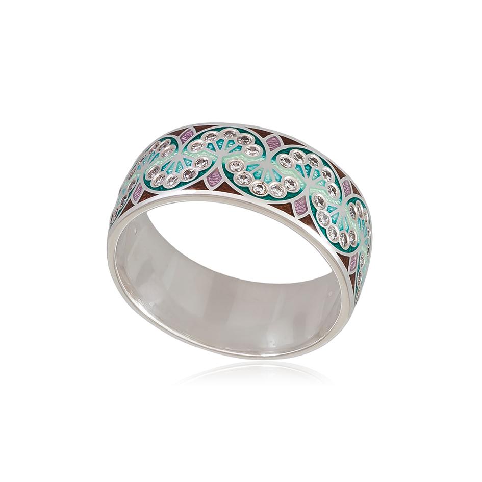 6 99 3s 1 - Кольцо из серебра «Сады Семирамиды», зеленое с фианитами