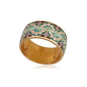 6 99 3z 1 1 300x300 - Кольцо из серебра «Сады Семирамиды» (золочение), зеленое с фианитами