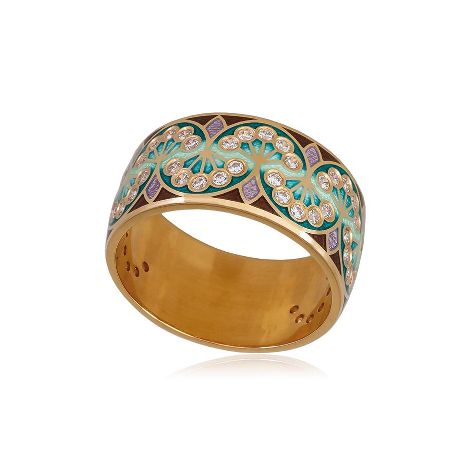 6 99 3z 1 1 - Кольцо из серебра «Сады Семирамиды» (золочение), зеленое с фианитами