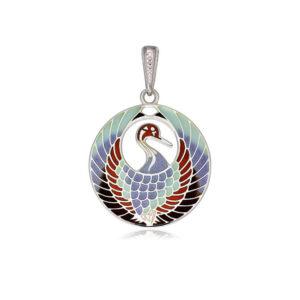 7 01 2s 1 300x300 - Подвеска из серебра «Журавлик», трехцветная