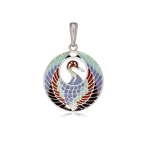 7 01 2s 1 600x600 - Подвеска из серебра «Журавлик», трехцветная