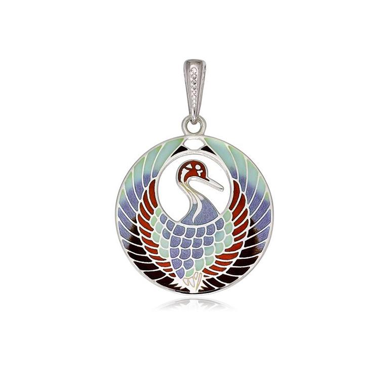 7 01 2s 1 - Подвеска из серебра «Журавлик», трехцветная