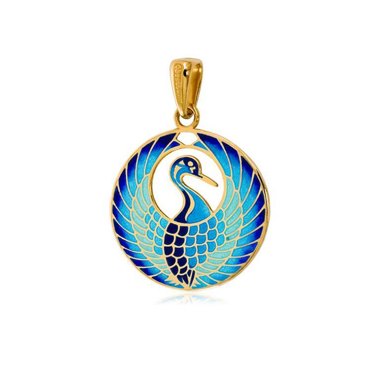 7 07 3z 11 1 - Серебряная подвеска «Журавлик» (золочение), голубая