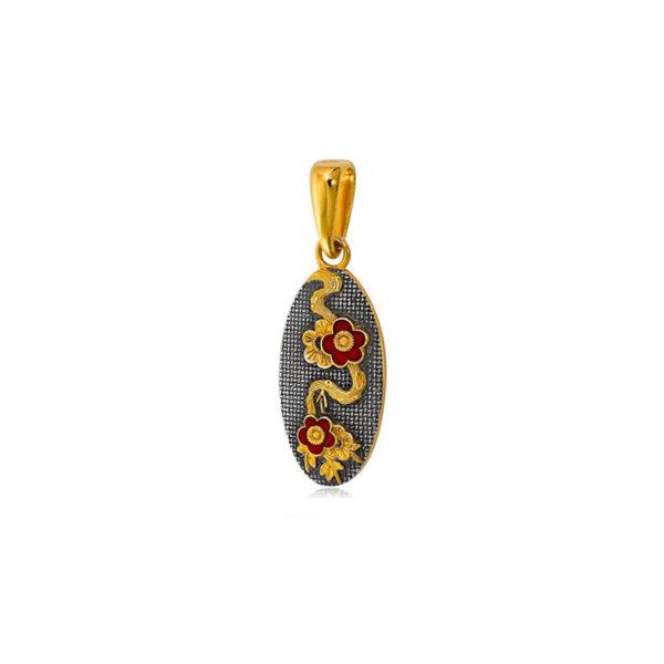7 13 1 1 600x600 - Подвеска из серебра «Веточка сакуры» (золочение), красные цветы