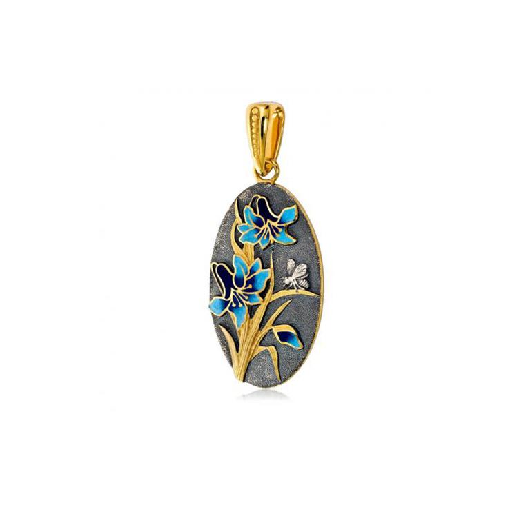 7 18 1 7 - Подвеска из серебра «Лилия» (золочение), голубая