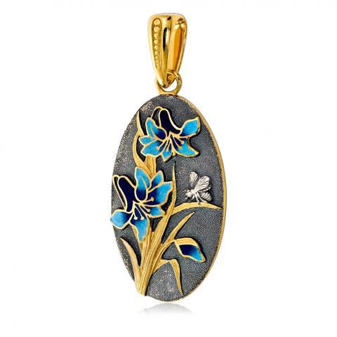 Подвеска «Лилия» (голубые цветы)