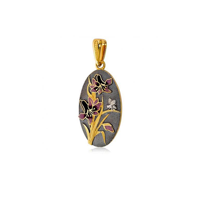 7 18 2 1 - Подвеска из серебра «Лилия» (золочение), фиолетовая